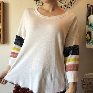 SPLENDID Comfy Slouchy Baseball Stripes Tee Tunic
